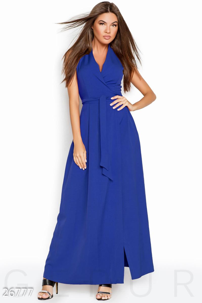 301f6b25f56 Летнее платье макси на запах юбка свободная без рукав электрик -