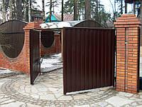 Розпашні ворота 4500х2000 заповнення профлистом, фото 1