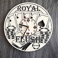 Бесшумные настенные часы из дерева «Покер», фото 1