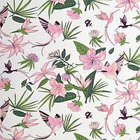 Хлопковая ткань Тропические цветы розовые
