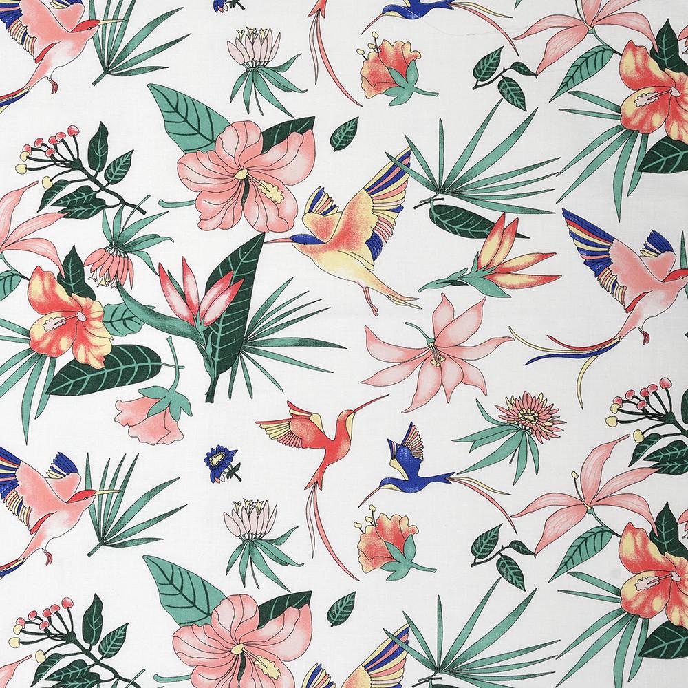 ✁ Отрез хлопковой ткани Тропические цветы 100х80 см