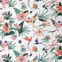 ✁ Отрез хлопковой ткани Тропические цветы 100х80 см, фото 1
