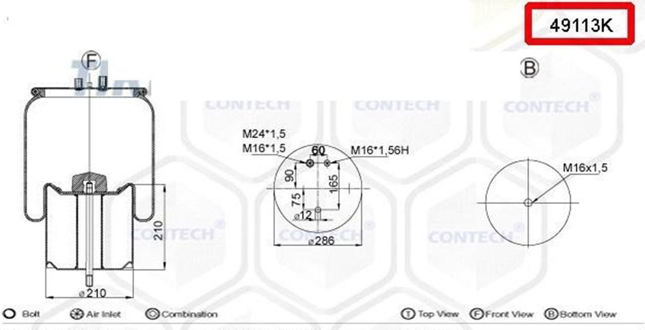 Пневмоподушка (с мет стаканом) Renault Premium, Magnum/00-, шпилька-2 воздуха, задняя, 4911NP03, 08411771,
