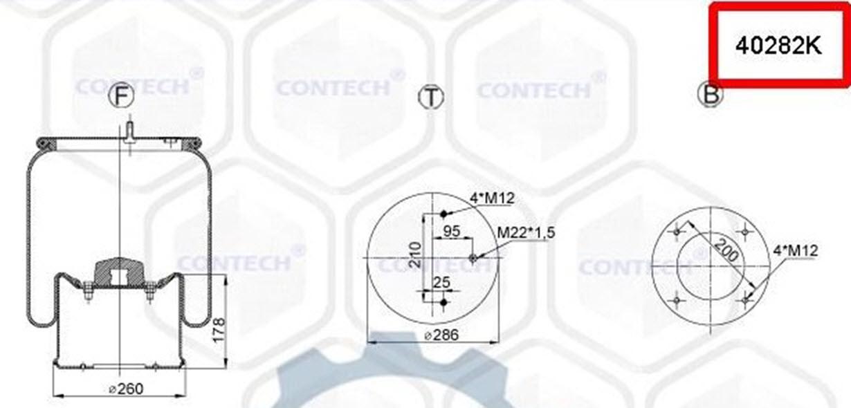 Пневмоподушка (с мет стаканом) SCHMITZ 2 шпильки-воздух, 4028NP02, W01M588106, 08419771, 1R14783, 1D28F1