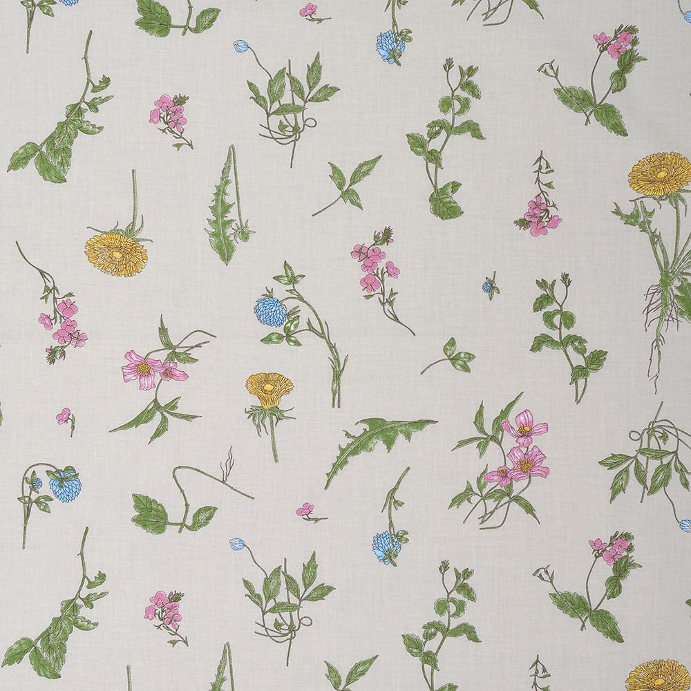 ✁ Отрез хлопковой ткани Полевые цветы на сером фоне 100х80 см