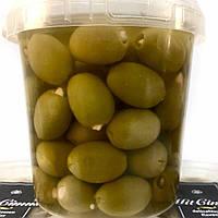 Греческие зеленые оливки фаршированные миндалем 600г