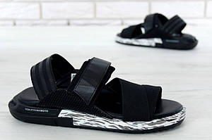 Мужские летние сандалии Adidas Y3 KAOHE SANDAL черные (Реплика)