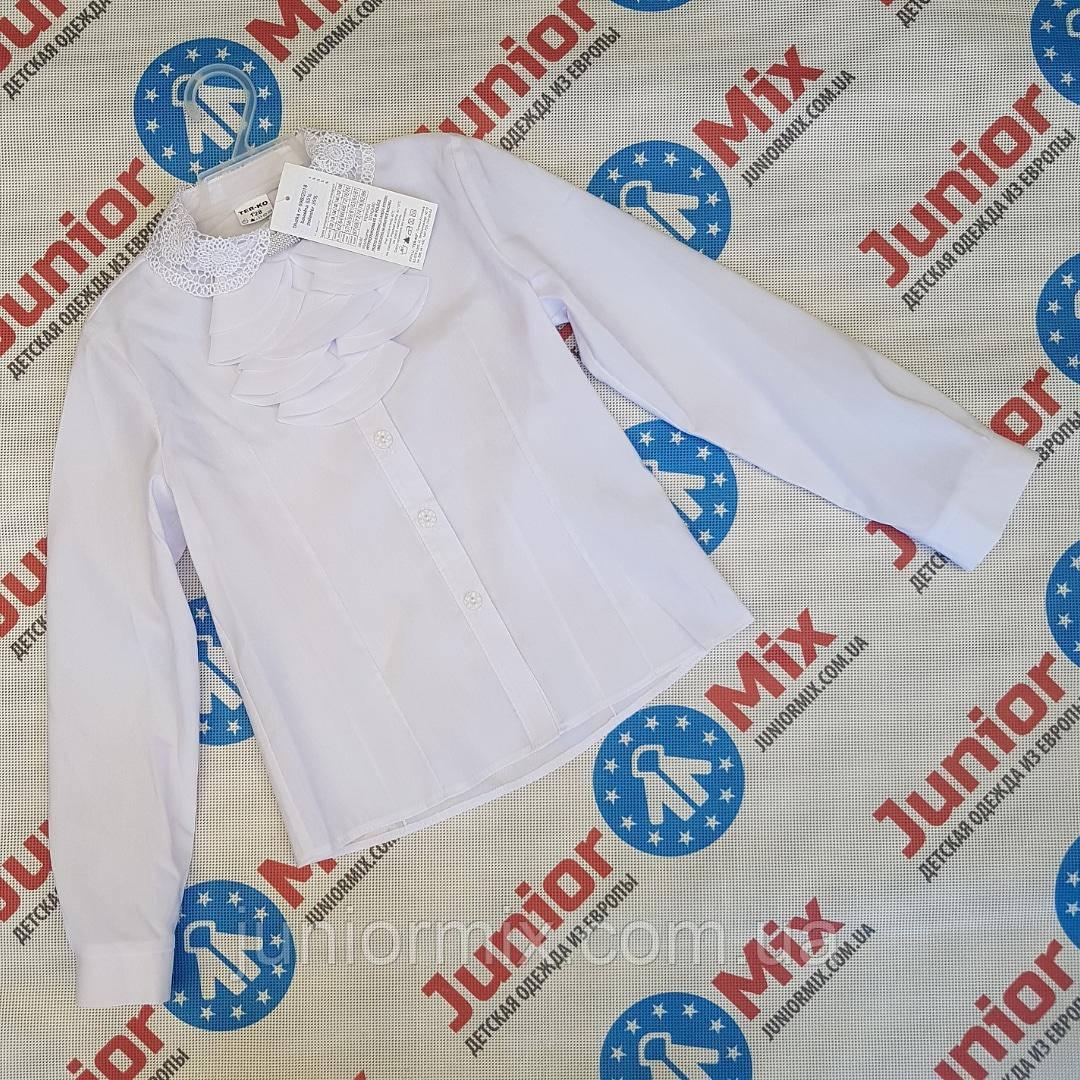Детская школьная блузка для девочек со съёмным жабо оптом TER-KO.  ПОЛЬША