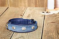 "Maul Halsband ""Bluejeans"" - Ошейник для собак ""Голубой джинс"" от 35 см /24мм до 85 см / 46 мм"