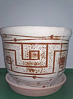 Горшок керамический для цветов, бежево-коричневый, d 21, h 17,5, 3,5 л, Украина