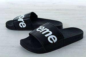 Мужские летние шлепанцы Supreme Slippers черные (Реплика)