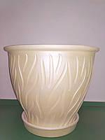 Горшок керамический для цветов, бежевый, d 22, h 19, 5 л, Украина