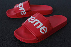 Мужские летние шлепанцы Supreme Slippers красные (Реплика)