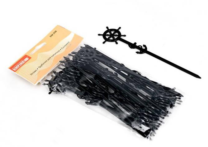 Палочка пластиковая для смешивания с морскими узлами черного цвета L 160 mm (уп 25 шт), фото 2
