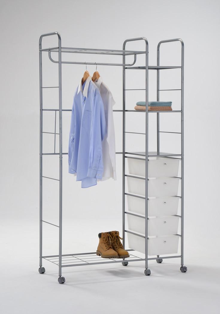 Стойка для одежды металл+пластик 5 ящиков W-68