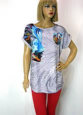 Футболка- туніка  жіноча з абстрактним принтом, фото 3