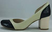 Туфли женские на среднем каблучке из натуральной кожи от производителя модель РБ - 12, фото 1