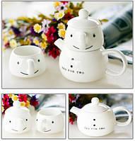 Миниатюрный чайный набор для двоих Снеговик Состоит из заварника чайничка  двух чашек  Код: КГ4931