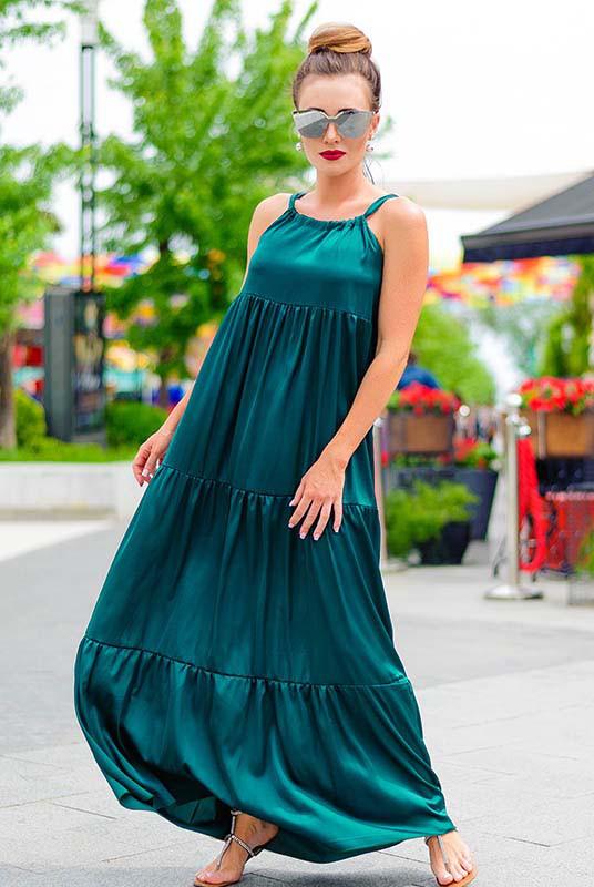 Длинное летнее платье батал КИМБЕРЛИ изумрудный