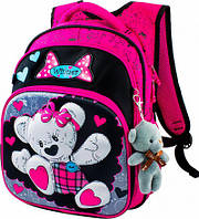 Рюкзак школьный ортопедический Winner Stile для девочек с милым мишкой + игрушка мишка