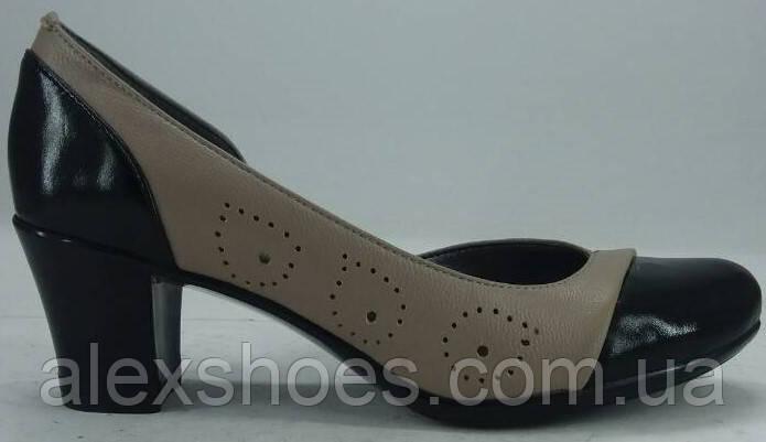 Туфли женские на среднем каблучке из натуральной кожи от производителя модель РБ - 11