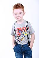 Детская футболка для мальчика, р. 110, Серая