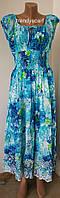 Женское платье сарафан. Голубой белый зеленый салатовый. Хлопок. Индия