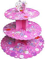 Стенд трёхъярусный картонный круглый для капкейков лилового цвета (шт)
