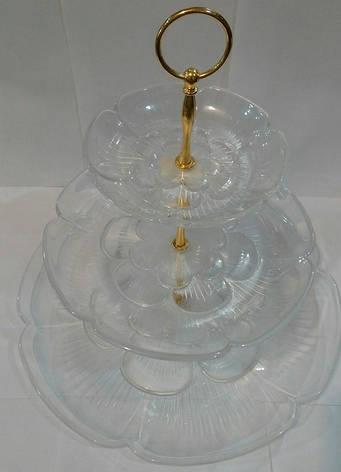 Конфетница {фруктовница} трёхъярусная акриловая круглая с золотыми креплениями (шт), фото 2
