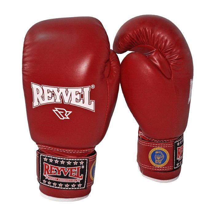 Перчатки боксерские REYVEL (ФБУ) красные кожа 10oz