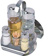 Спецовник соль+перец+салф+уксус+масло+зуб  на нержавющей подставке (набор 7 пр)
