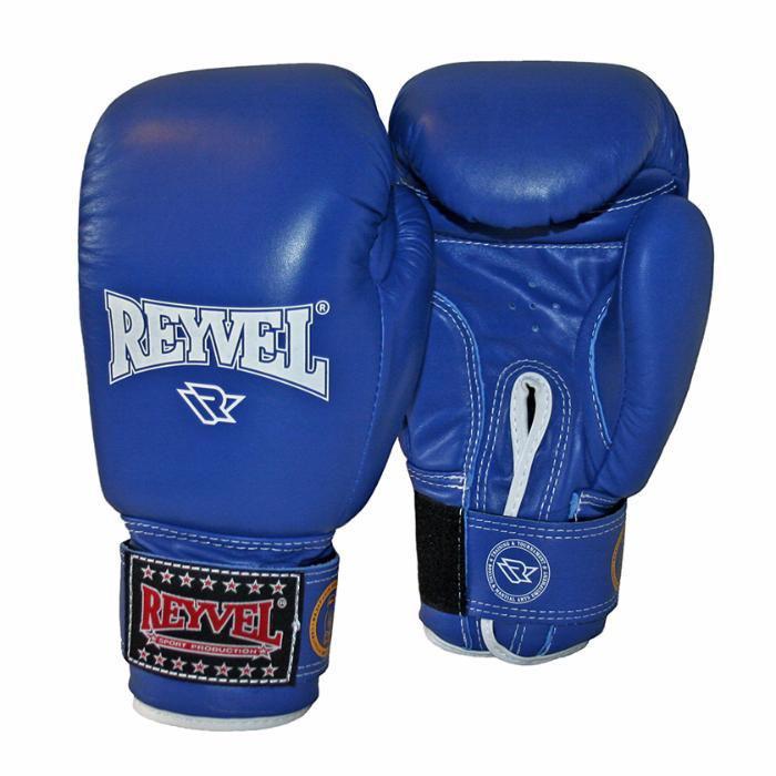 Перчатки боксерские REYVEL (ФБУ) синие кожа 12oz