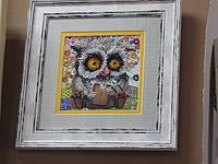 """Набор мини для вышивки бисером на художественном холсте от Абрис Арт """"Сова с печенькой"""" в интернет магазине """"Чарівниця"""" https://charivnitsya.com.ua/g4538833-nabory-dlya-vyshivaniya"""