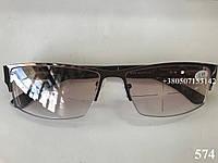 Очки для зрения, полуоправа, тонированные линзы. Модель 574 коричневые