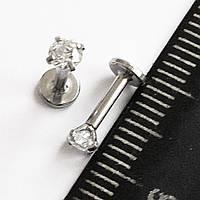Микроштанга 6 мм, для пирсинга козелка уха, с кристаллом 4 мм. Медицинсая сталь., фото 1