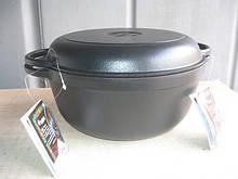 Кастрюля  чугунная эмалированная с крышкой сковородой, 2 литра, матово-чёрная, 200х100 мм