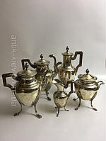 Антикварный серебряный сервиз 19век Франция столовое серебро молочник сахарница чайник кофейник