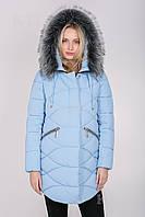 Куртка KTL голубая женская зимняя мех искусственный, фото 1