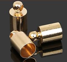 Концевик-колпачок  для шнуров и бисерных жгутов, 6 мм, цвет золото, 1 пара
