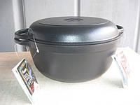 Кастрюля  чугунная эмалированная с крышкой сковородой. Матово-чёрная. Объем 5,5 литра., фото 1