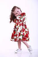 Детское платье для девочек с розами, р. 98, 104, 110, 116, 122, Белый