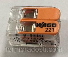 Клемма с нажимным рычагом Wago на 2 провода (221-412)