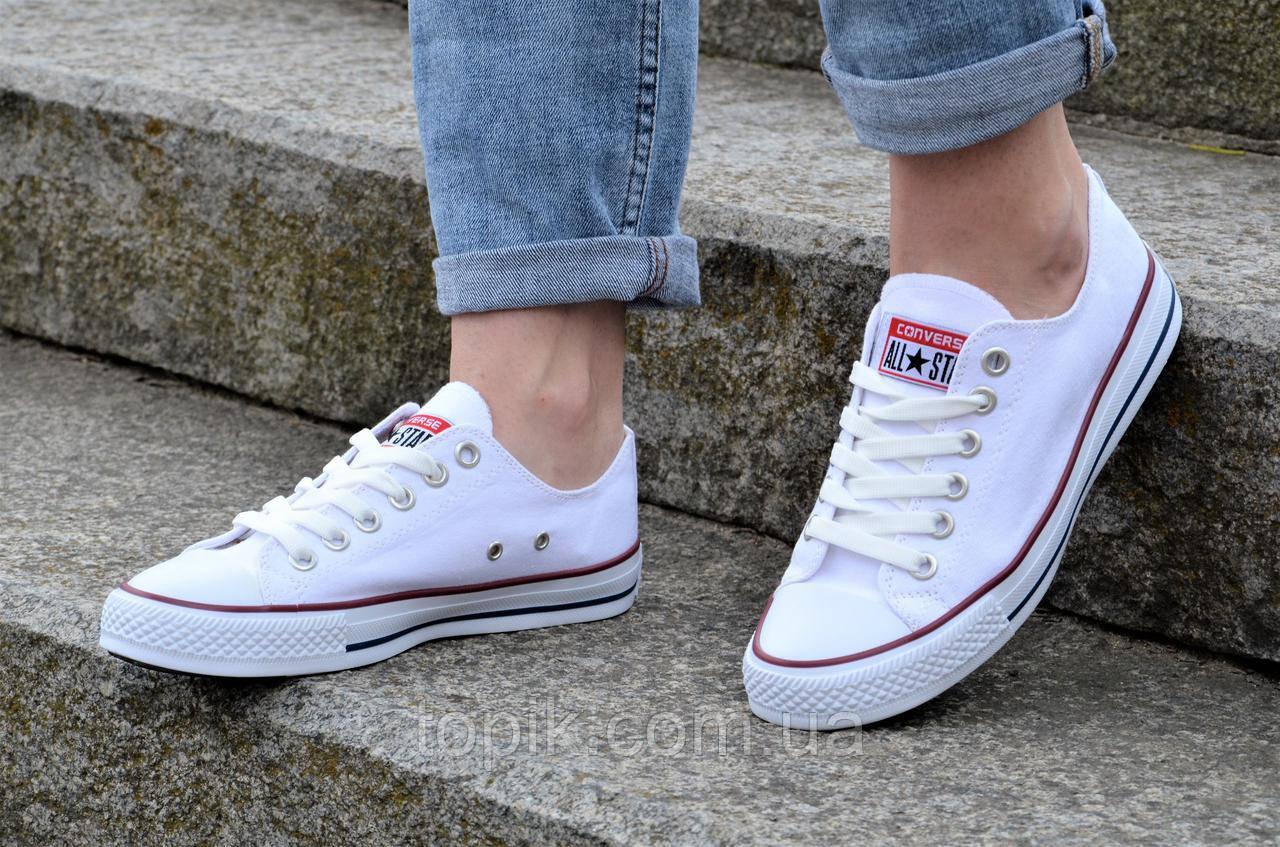 Кеды реплика Converse All Star Classic Low женские, подростковые текстиль  белые практичные (Код  1185а) fa132bbf451