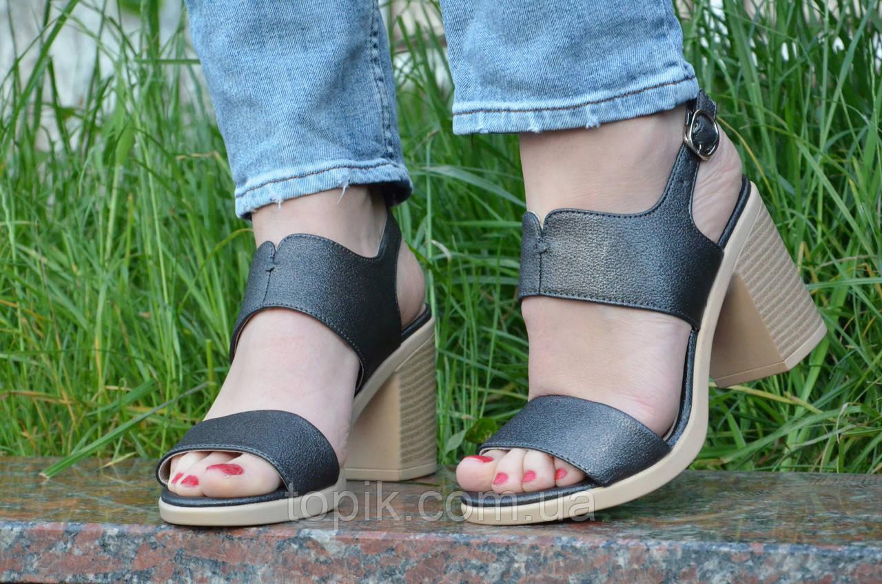 Босоножки на каблуках женские качественные темно серые с перламутром (Код: 1191а)