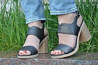 Босоножки на каблуках женские качественные темно серые с перламутром (Код: 1191а), фото 1