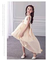 Нарядное платье для девочки с цветочками, шлейфом и большим бантом, фото 2