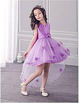 Нарядное платье для девочки с цветочками, шлейфом и большим бантом, фото 3