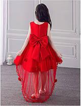 Нарядное платье для девочки со шлейфом и большим бантом красное, фото 2