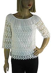 Блузка біла нарядна з мереживом Fi-ha-ha