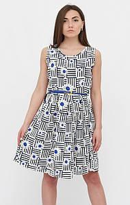 Летнее платье с ярко-синими цветами. Турция. Разм.46-48.